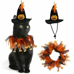 Pet Dress Up Hat Cloak Cosplay Halloween Costume Party for Dog Puppy Cat Kitten~