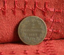 Italy 2 Centesimi 1867 M Copper World Coin Vittorio Emanuele Italian