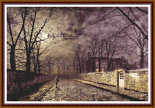 "'SILVER MOONLIGHT' Cross Stitch Pattern (18¾""x12½"") Detailed/Buildings/Celestial"