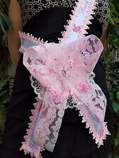 Baby Shower Mom To Be It's a Girl Sash Pink With Butterflies Ribbon and Corsage