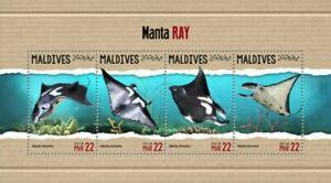 Maldives - 2018 Giant Oceanic Manta Ray - 4 Stamp Sheet - MLD18306a