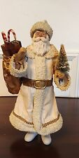 CLOTHIQUE POSSIBLE DREAMS SANTA 1987 with White Robe and Bag of Toys & Tree