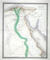 EGYPT, Teesdale Original Hand Coloured Antique Map 1841