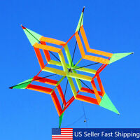 3D Rainbow Flower Delta Fly Kite Single Line Outdoor Fun Sport for Kids Toy