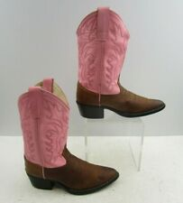 Girls Old West Brown / Pink Leather Round Toe Western Cowgirl Boots Size : 2