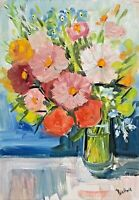 print of original oil painting art Vase of cosmos Impressionism shabby chic
