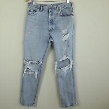 90s Mens Lee Jeans Light Wash Worn Paint Work Distressed Holes Skate 31 x 29