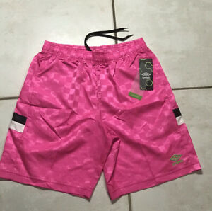 NWT UMBRO Neon Pink Nylon Checkered Soccer Shorts With Pockets Men's Large
