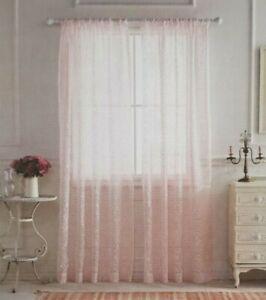 "2 Simply Shabby Chic Pink Damask Burnout Sheer Panels (1 Pair) 108"" x 84"" NIP"