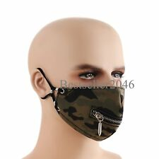Camouflage Leather Metal Zipper Bullet Mouth Half Face Biker Cosplay Sports Mask