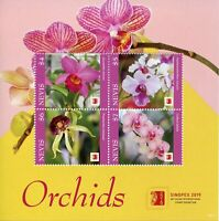 Nevis 2019 MNH Orchids Orchid Singpex 4v M/S Flowers Flora Nature Stamps