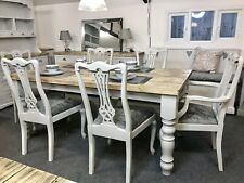 Chunky FARMHOUSE Distressed TABLE with 6 Grey Velvet Fabric Chairs Rustic NEW