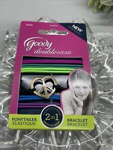 GOODY DOUBLE WEAR 2 IN 1 PONYTAILER BRACELET Silver Charm Purple Blue Green