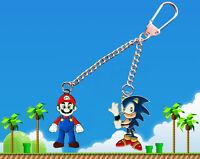Nintendo Super Mario & Sega Sonic the Hedgehog double  Keychain / Keyring