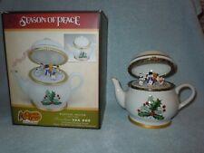Cracker Barrel Mr Christmas Porcelain Animated Musical Tea Pot & Box