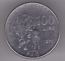ITALIA 100 LIRE 1979 moneta in acciaio inox-stando MUCCA E VITELLO