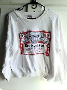 Vintage Budweiser Beer White Logo Crewneck Sweatshirt