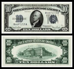 1934-D $10 SILVER CERTIFICATE NOTE~~CRISP~ABOUT UNCIRCULATED