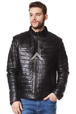 Para Hombre Chaqueta de cuero negro suave napa Motociclista Motocicleta Acolchado Estilo 9050