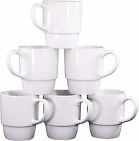 Bruntmor Porcelain Stackable Coffee Cups Mugs Set of 6 Large Mugs White 18 Ounce