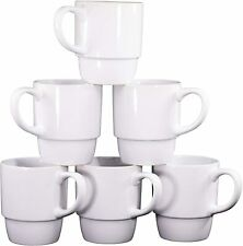 Bruntmor 18 Ounce Porcelain Stackable Coffee Cups Mugs Set of 6 White