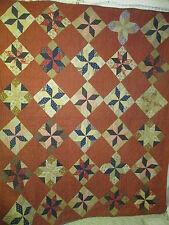 Antique Quilt Lemoyne Star red and cheddar print fantastic back