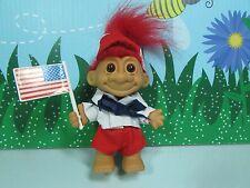 "CAMP BOY w/AMERICAN FLAG - 5"" Russ Troll Doll  - NEW STORE STOCK"