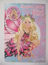 WONDERFUL BARBIE MARIPOSA SPECIAL LITTLE GIRL BIRTHDAY GREETING CARD & BADGE