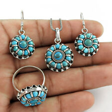 Bridal Jewellery Set Turquoise Gemstone Earring Pendant Ring Sterling Silver