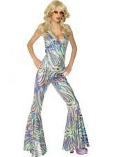 70's-80's Disco Jumpsuit Multi Color Iridescent Swirl Print Halter Costume Lg