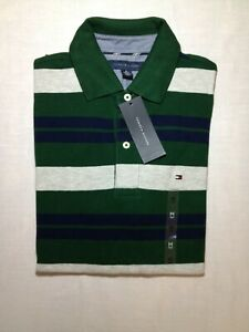 Tommy Hilfiger - Green with Blue and Grey Striped - men's medium - Custom fit