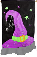 NEW LARGE EVERGREEN APPLIQUE  FLAG HALLOWEEN WITCH HAT 29 x 43