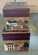 LANG Bobs Boxes Primitive THE VILLAGE 2 Nesting Stacking Ellen Stouffer Artist