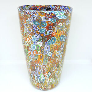Vase Murano Murrina Millefiori & Gold 24Kt Shape Cylinder Glass Murano Authentic