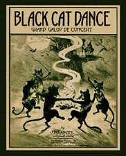BLACK CAT DANCE 8x10 Vintage witch Art print