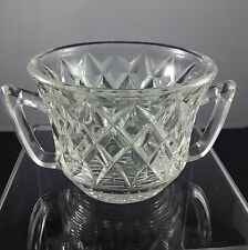 Lovely Vintage Depression Glass Double Handle Sugar Bowl Diamond Pattern