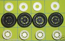 TIRES - WHITE 9 HOLE RACING RIMS/WHEELS & BACKING ROTORS w/RACING TIRES - 1/25