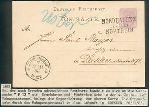 WWI German Ganzsache P12 Nordhausen Northeim nach Dresden-Neustadt 1883 RARE