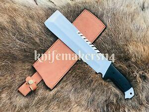 15''Custom Handmade D2 Big Hunting Tactical Combat Survival Machete Knife Sheath