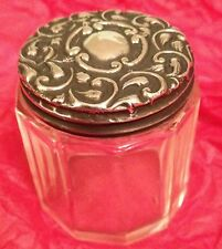 Antique Hallmarked Silver Lid Cut Glass Trinket Make Up Box. Not Scent Perfume