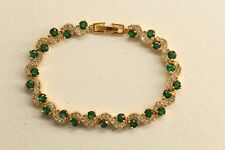 3CT YELLOW GOLD FINISH GREEN ROUND DIAMONDS IN 14K WITH EXTENSION LOCK
