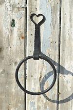 Hand made wrought iron Shaker heart towel ring wall mounted folk art style