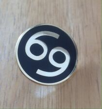 Number 69 Motorcycle Biker Cafe Racer Rocker Bike Pin Badge