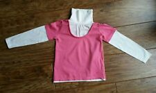Cherokee (Tesco) Pink & White Long-Sleeved Turtle Neck Top (Aged 5 - 6 Years)