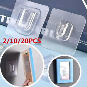 2/10/20X Wall Hooks Double-Sided Adhesive Hanger Strong Transparent Suction CupT