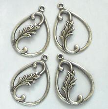Vintage Leaf Findings, Connectors Silver Victorian Art Nouveau Pear Drops #1414