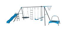 New 7 unit swing station set outdoor kids wavy Slide Trampoline Hoop ladder