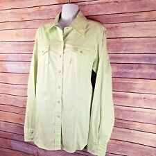 Cruel Girl Western Shirt L Green Snap Front Long Sleeve Arena Fit Fitted Pocket