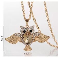 New Fashion Elegant Chain Owl Opal Bib Pendant Crystal Sweater Necklace Jewelry