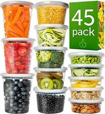 Plastic Containers with Lids Set 45 Pack - Freezer Containers Deli Containers wi